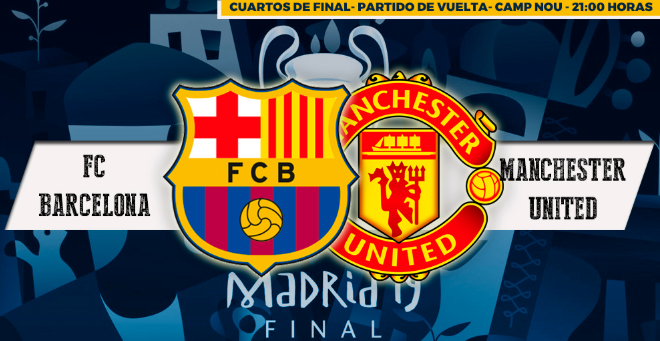 Como ver el partido Barcelona vs Manchester United Champions League